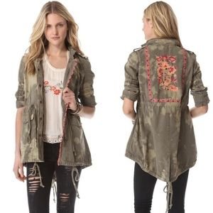 Free People Military Embroidered Jacket Size 4